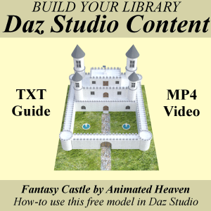 free: build your library of content for daz studio with fantasy castle