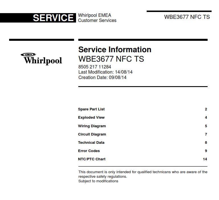 Whirlpool WBE 3677 NFC TS refrigerator Service Manual | eBooks | Technical