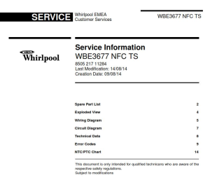 Whirlpool WBE 3677 NFC TS refrigerator Service Manual | eBooks | Technical