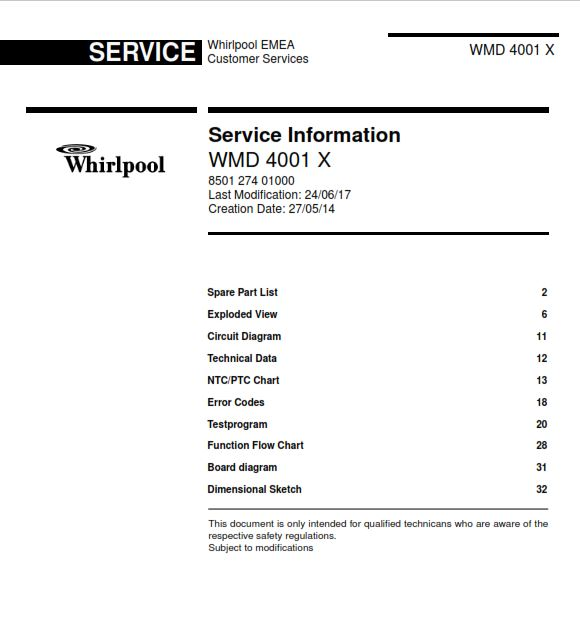 Whirlpool WMD 4001 X refrigerator Service Manual | eBooks | Technical