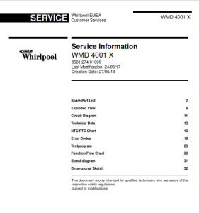 Whirlpool WMD 4001 X refrigerator Service Manual | eBooks | Technical