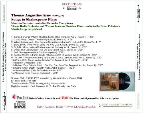 First Additional product image for - Thomas Augustine Arne - Songs to Shakespeare Plays