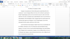 Writing Essay # 3 (The Influence of Language on Culture) | Documents and Forms | Research Papers
