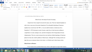 Aviation Related Ethical or Social Responsibility Issue Research Paper | Documents and Forms | Research Papers
