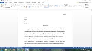 Happiness Essay | Documents and Forms | Research Papers