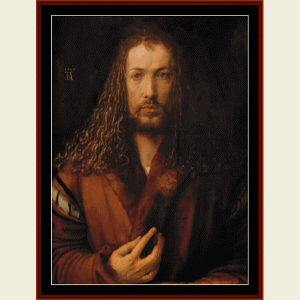 Albrecht Dürer Self Portrait - Durer cross stitch pattern by Cross Stitch Collectibles | Crafting | Cross-Stitch | Wall Hangings