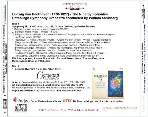 Third Additional product image for - Beethoven: 9 Symphonies Set III: Leonore No. 3/Sym. No. 9 - PSO/Steinberg