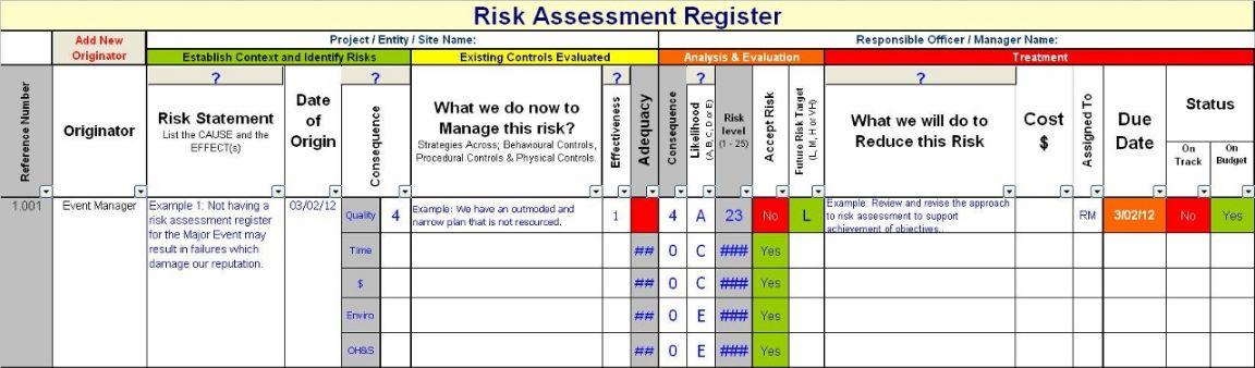 risk register documents and forms spreadsheets. Black Bedroom Furniture Sets. Home Design Ideas