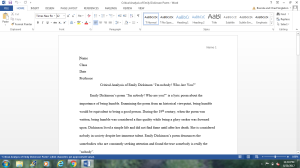 Critical Analysis Emily Dickinson   Documents and Forms   Research Papers
