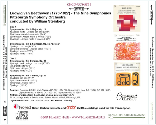 First Additional product image for - Beethoven: 9 Symphonies Set I: Symphonies Nos. 1-2-3-5 - PSO/Steinberg