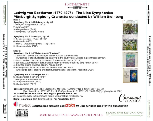 First Additional product image for - Beethoven: 9 Symphonies Set II: Symphonies Nos. 4-6-7-8 - PSO/Steinberg