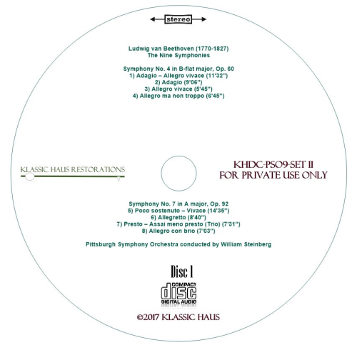 Second Additional product image for - Beethoven: 9 Symphonies Set II: Symphonies Nos. 4-6-7-8 - PSO/Steinberg