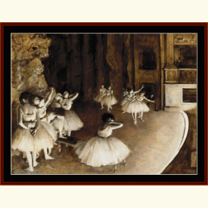 Ballet Reahearsal on Stage II - Degas cross stitch pattern by Cross Stitch Collectibles | Crafting | Cross-Stitch | Wall Hangings