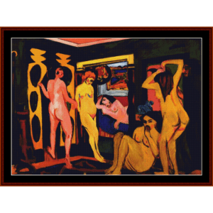Woman Bathing - E.L. Kirchner cross stitch pattern by Cross Stitch Collectibles | Crafting | Cross-Stitch | Wall Hangings