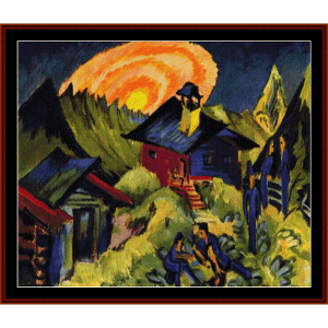 Moon Rising - E.L. Kirchner cross stitch pattern by Cross Stitch Collectibles | Crafting | Cross-Stitch | Wall Hangings