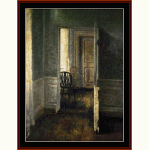 interior with windsor chair - hammershoi cross stitch pattern by cross stitch collectibles
