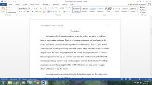 Assignment Two: Sweatshops | Documents and Forms | Research Papers