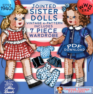 1940ssister-dolls e-pattern jointed! alice brooks mail order