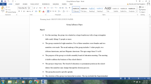 Group Influence Assignment | Documents and Forms | Research Papers