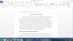 Personal Reflection on the Self Paper | Documents and Forms | Research Papers