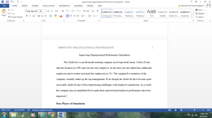 """""""Improving Organizational Performance"""" Simulation Summary 