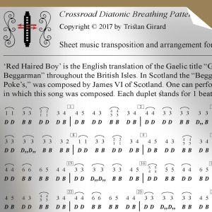 'the red haired boy,' low position, sheet music for the diatonic harmonica