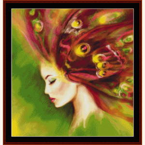 Spring Butterfly Woman - Fantasy cross stitch pattern by Cross Stitch Collectibles | Crafting | Cross-Stitch | Wall Hangings