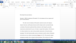Discussion Questions on Psychology   Documents and Forms   Research Papers