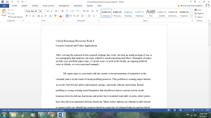 Critical Reasoning - Discussion - Week 8 | Documents and Forms | Research Papers