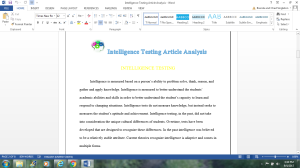 Intelligence Testing Article Analysis | Documents and Forms | Research Papers