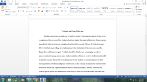 Feedback and Praise Reflection | Documents and Forms | Research Papers