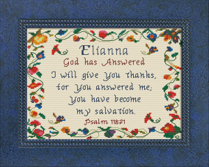 Name Blessings - Elianna | Crafting | Cross-Stitch | Religious