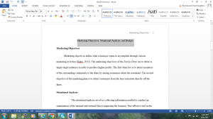 BA330 Unit Four: Marketing Objectives, Situational Analysis, and Budget | Documents and Forms | Research Papers