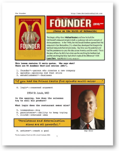the founder, whole-movie english (esl) lesson