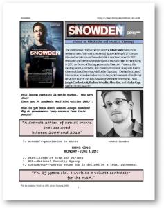 SNOWDEN, Whole-Movie English (ESL) Lesson | eBooks | Education