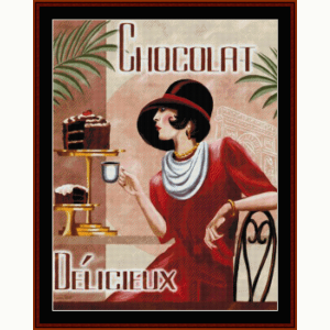 Chocolat Delicieux - Vintage Poster cross stitch pattern by Cross Stitch Collectibles | Crafting | Cross-Stitch | Wall Hangings