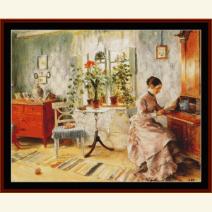 woman reading - larsson cross stitch pattern by cross stitch collectibles