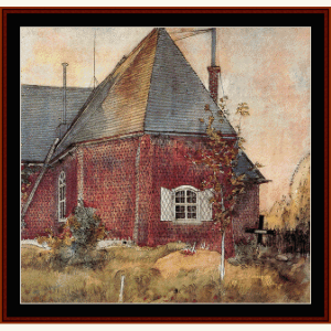 old sunborn church - larsson cross stitch pattern by cross stitch collectibles