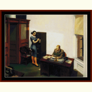 office at night - hopper cross stitch pattern by cross stitch collectibles