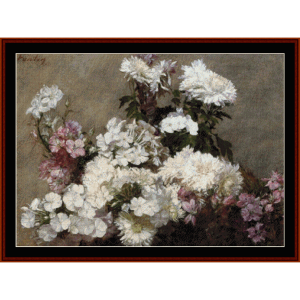 mixed bouquet - fantin-latour cross stitch pattern by cross stitch collectibles