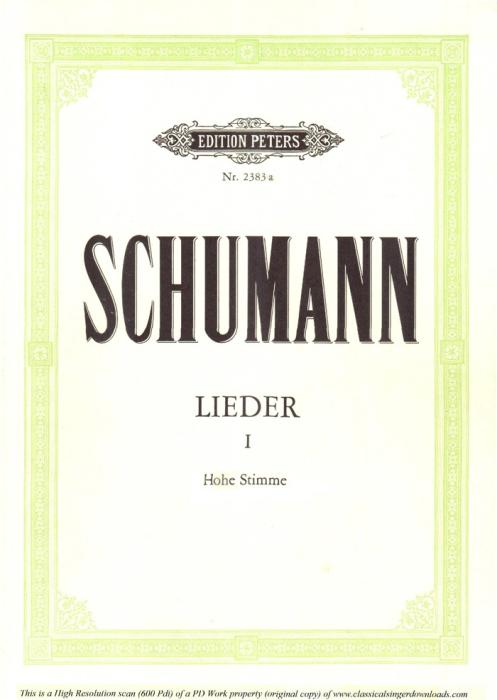 First Additional product image for - Der Nussbaum, Op.25 No.3, High Voice in G Major, R. Schumann (Myrthen), C.F. Peters