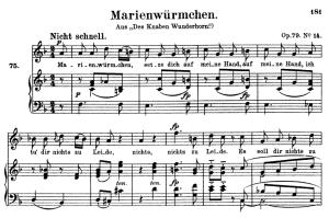 marienwürmchen op.79 no.14 , high voice in in f major, r. schumann, c.f. peters