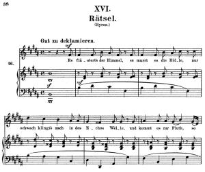 rätsel, op.25 no.16, high voice in b major, r. schumann (myrthen), c.f. peters
