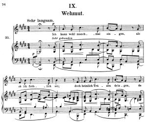 wehmut op.39 no.9, high voice in e major, r. schumann (liederkreis), c.f. peters
