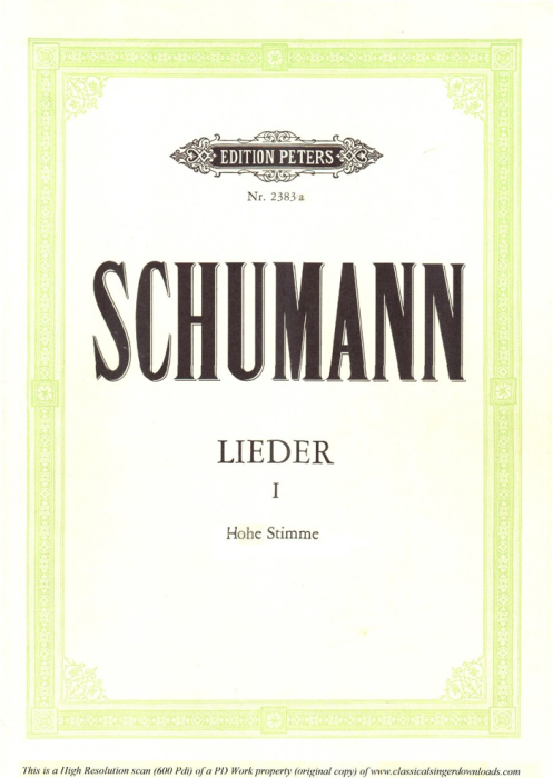 First Additional product image for - Widmung Op.25 No.1, High Voice in A-Flat Major, R. Schumann (Myrthen), C.F. Peters