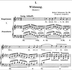 widmung op.25 no.1, high voice in a-flat major, r. schumann (myrthen), c.f. peters