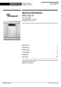Whirlpool ADG 422 IX Dishwasher Service Manual | eBooks | Technical