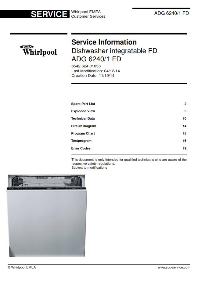 Whirlpool Adg 6240  1 Fd Dishwasher Service Manual