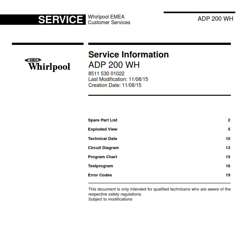Whirlpool ADP 200 WH Dishwasher Service Manual | eBooks | Technical