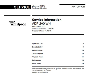 whirlpool adp 200 wh dishwasher service manual